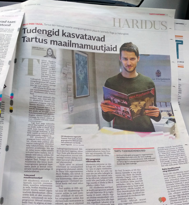 "DD Academy in the newspaper: ""students train changemakers in Tartu"""